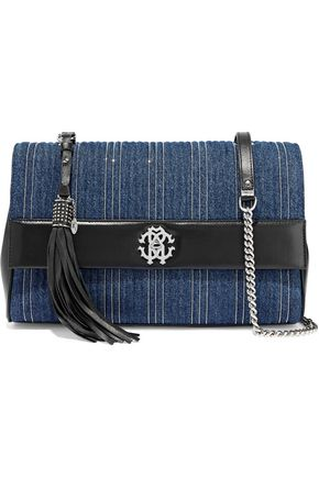 ROBERTO CAVALLI Large leather-paneled bead-embellished quilted denim shoulder bag