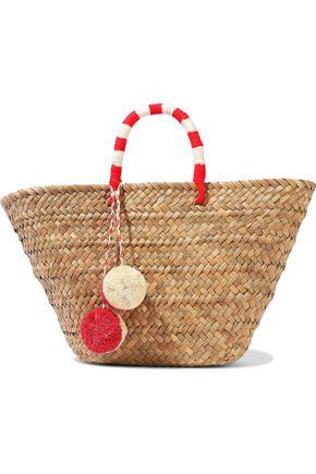 KAYU Pompom-embellished woven straw tote