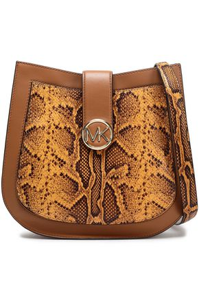 MICHAEL MICHAEL KORS Lillie large snake-effect and smooth leather shoulder bags