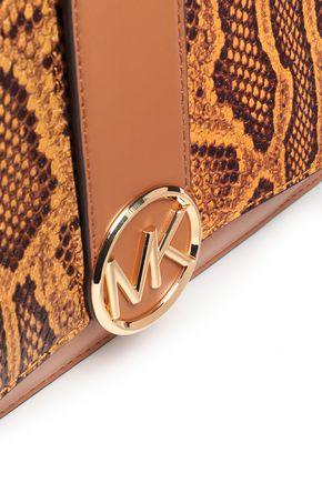 MICHAEL MICHAEL KORS Smooth and snake-effect leather shoulder bag