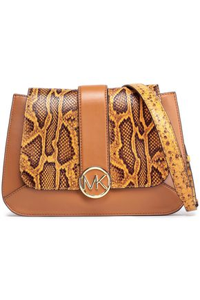 e95d77eef076 MICHAEL MICHAEL KORS Smooth and snake-effect leather shoulder bag