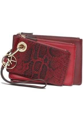 MICHAEL MICHAEL KORS Set of three snake-effect and smooth leather pouches