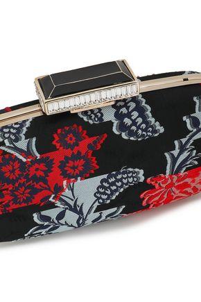 OSCAR DE LA RENTA Crystal-embellished satin-jacquard clutch