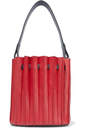 SARA BATTAGLIA Plissé pebbled-leather bucket bag