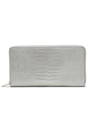 SMYTHSON Metallic croc-effect leather continental wallet
