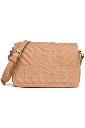 LOVE MOSCHINO Embroidered quilted faux leather shoulder bag