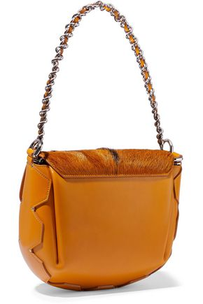 ROBERTO CAVALLI Goat hair-paneled leather shoulder bag