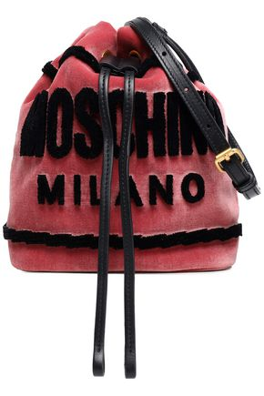 MOSCHINO Flocked velvet bucket bag