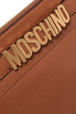 MOSCHINO Textured-leather pouch