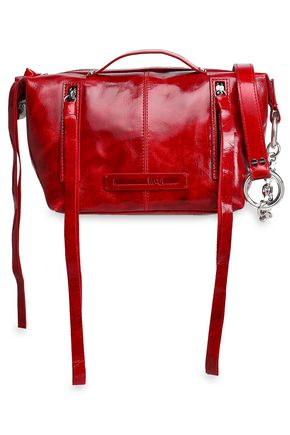 McQ Alexander McQueen Polished cracked-leather shoulder bag