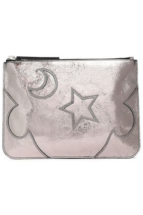 McQ Alexander McQueen Solstice metallic cracked-leather pouch