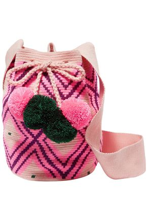 Sophie Anderson Woman Lila Pompom-embellished Woven Bucket Bag Pink Size --