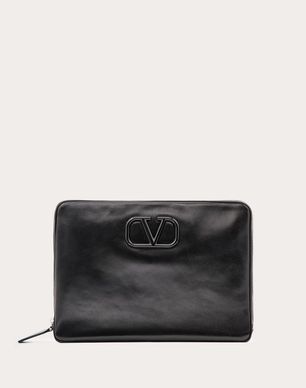 Leather VLOGO clutch