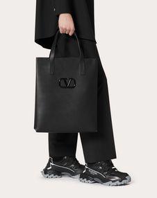 Leather VLOGO shopping bag