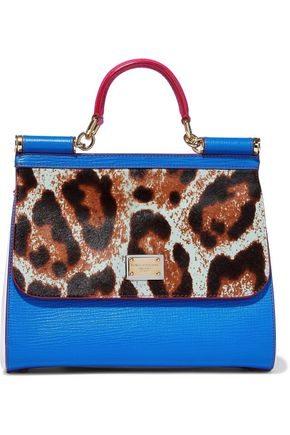 DOLCE & GABBANA Leopard-print calf hair and textured-leather shoulder bag
