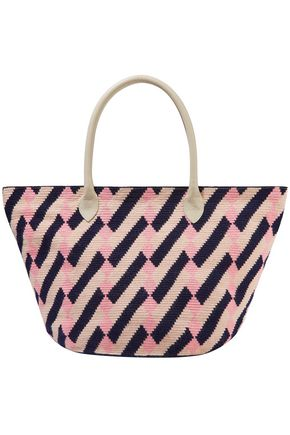 SOPHIE ANDERSON Leather-trimmed printed woven tote