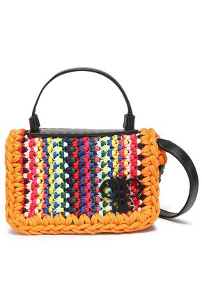 EMILIO PUCCI Leather-trimmed woven shoulder bag