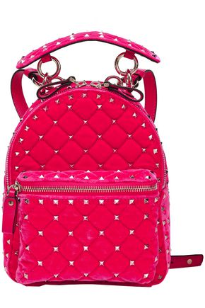 VALENTINO GARAVANI Studded quilted velvet backpack