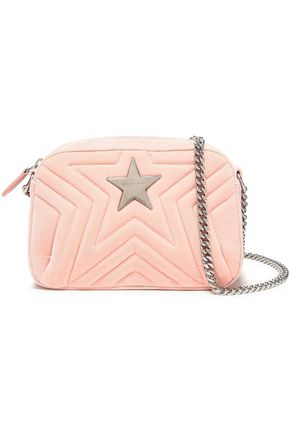 STELLA McCARTNEY Embellished quilted velvet shoulder bag