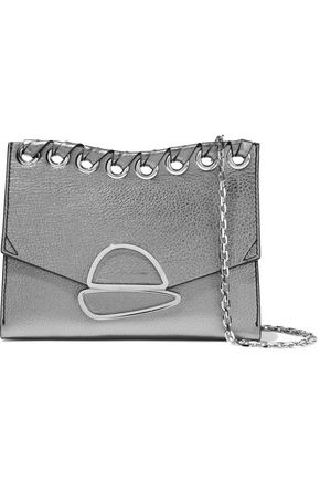 PROENZA SCHOULER Small Curl eyelet-embellished metallic textured-leather clutch