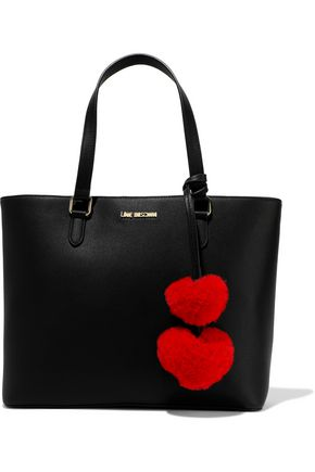 LOVE MOSCHINO Pompom-embellished leather tote