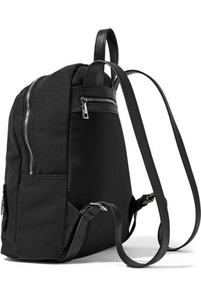 LOVE MOSCHINO Leather-trimmed appliquéd canvas backpack