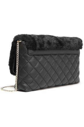 6dcee360504 LOVE MOSCHINO Faux fur and quilted faux leather shoulder bag