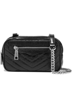 REBECCA MINKOFF Quilted glossed cracked-leather shoulder bag