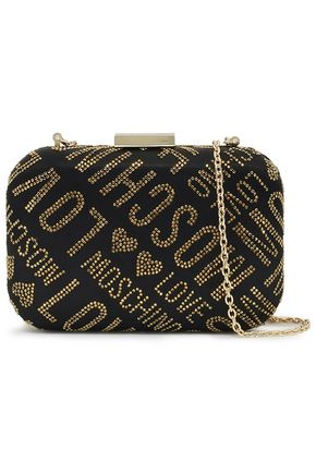 LOVE MOSCHINO Crystal-embellished satin clutch