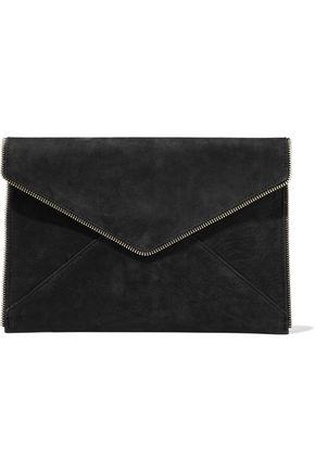 REBECCA MINKOFF Leo zip-embellished nubuck clutch