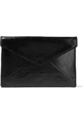 REBECCA MINKOFF Leo zip-embellished glossed cracked-leather clutch