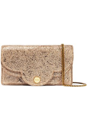 SEE BY CHLOÉ Polina metallic cracked-leather shoulder bag