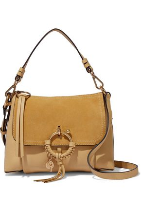 SEE BY CHLOÉ Joan suede-paneled textured-leather shoulder bag