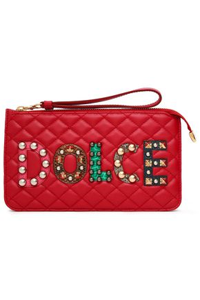 DOLCE & GABBANA Appliquéd quilted leather clutch