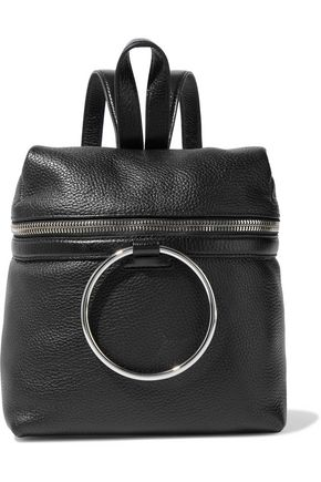 KARA Ring-embellished pebbled-leather backpack