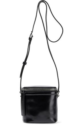 KARA Glossed-leather shoulder bag