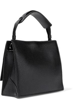 KARA Baby Moon glossed and textured-leather shoulder bag