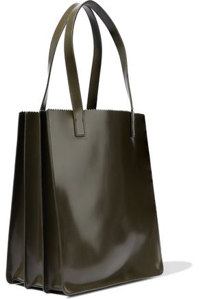 KARA Multi Pinch glossed-leather tote