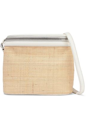 KARA Stowaway pebbled-leather and straw shoulder bag