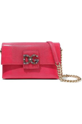 DOLCE & GABBANA Embellished lizard-effect leather shoulder bag
