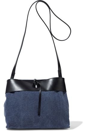 KARA Tie leather-trimmed denim shoulder bag