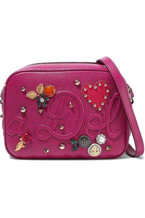 DOLCE & GABBANA Glam appliquéd embossed textured-leather shoulder bag