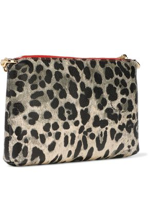 DOLCE & GABBANA Leopard-print coated textured-leather clutch