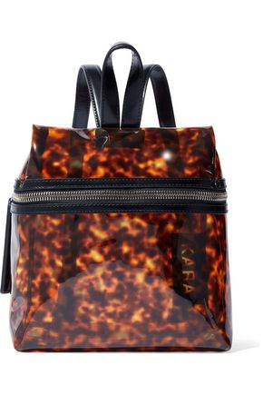 KARA Small tortoiseshell-print vinyl backpack