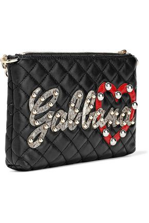 DOLCE & GABBANA Appliquéd quilted leather shoulder bag