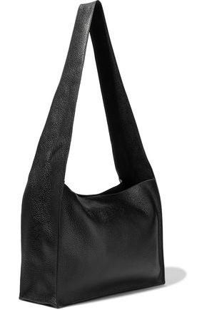 KARA Moon glossed-paneled pebbled-leather shoulder bag