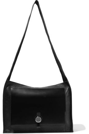 KARA Moon glossed-paneled pebbled-leather shoulder bag