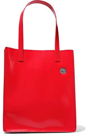 KARA Multi Pinch glossed-leather tote
