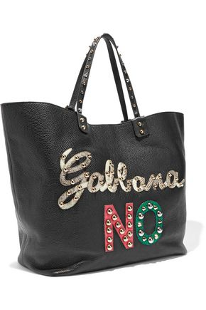 DOLCE & GABBANA Appliquéd pebbled-leather tote
