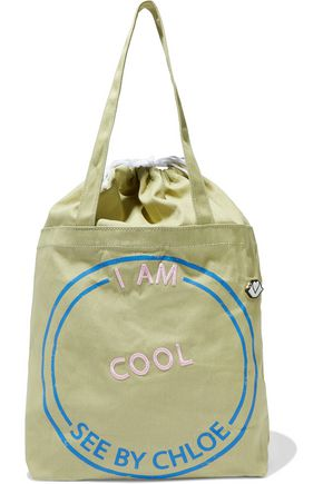 SEE BY CHLOÉ I Am Cool embroidered printed cotton-canvas tote